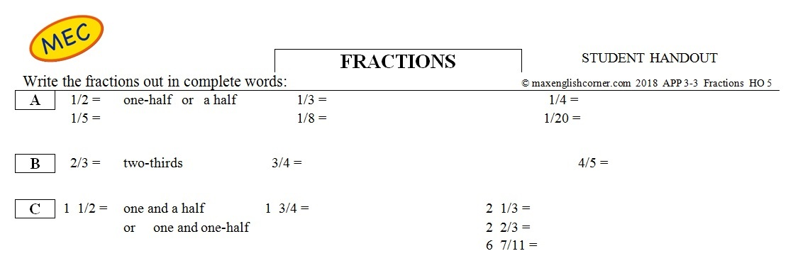 APP 3-3 More Numbers: Fractions - Max's English Corner
